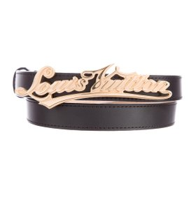 Louis Vuitton Black leather Louis Vuitton gold-tone LV cursive logo belt XS