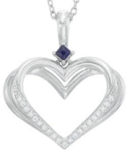 Zales The Kindred Heart from Vera Wang Love Collection Diamond Accent and Blue Sapphire Pendant in Sterling Silver