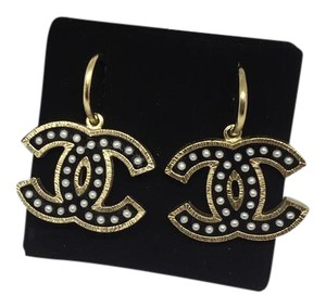 Chanel Chanel CC XL Logo Hoop Earrings