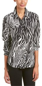 Equipment Animal Chic Party Silk Top Black and White Zebra Print