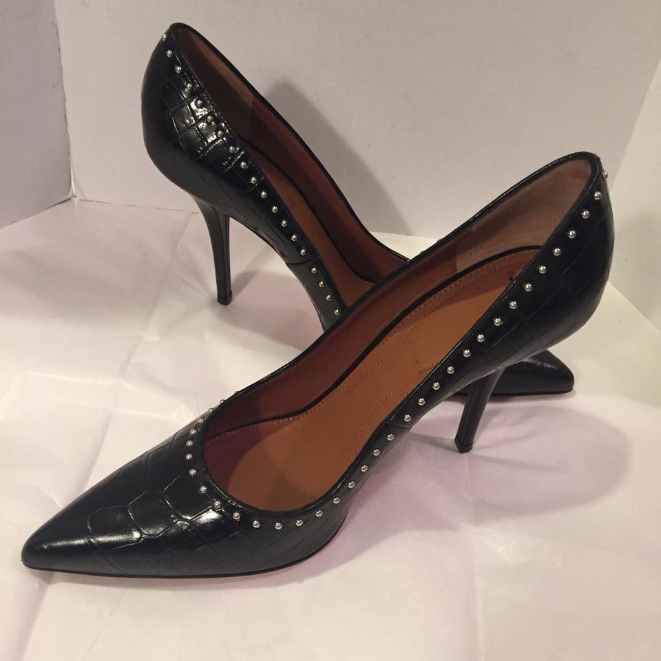 8584f8e8068 Givenchy Black Studded Croc Embossed Leather Point Toe Pumps Size US ...