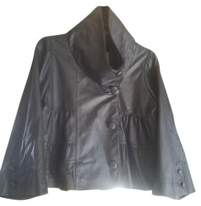 Madison Marcus Leather Ruffle Pleated Lambskin Silk Leather Jacket