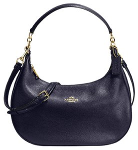Coach Harley Crossbody Leather Midnight Hobo Bag