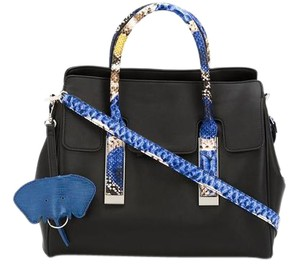 Christian Siriano Snakeskin Charm Crisscross Strap Structured Tote in Black and Blue