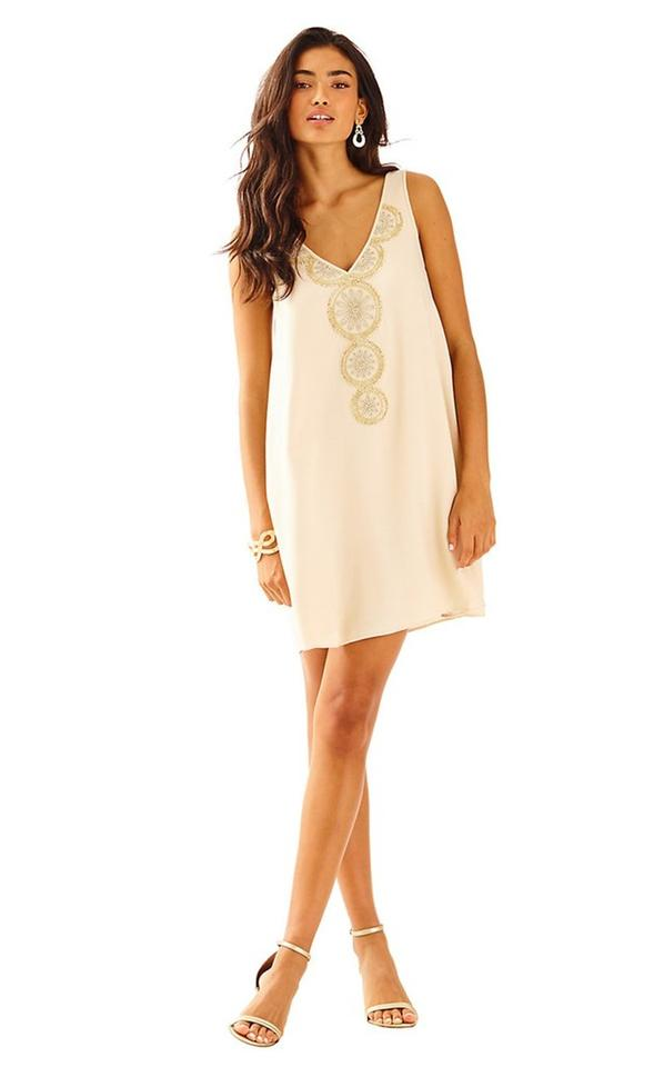 Lilly Pulitzer Beige Nude Embroidered Short Casual Dress