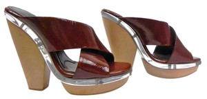 Marni Platform Patent Leather Mule Brown Sandals