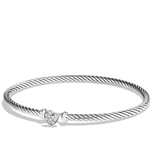 David Yurman Cable Collectibles Heart Bracelet with Diamonds, 3mm 925 Sterling Silver