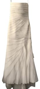 White By Vera Wang Beige Strapless Chiffon Wedding Dress