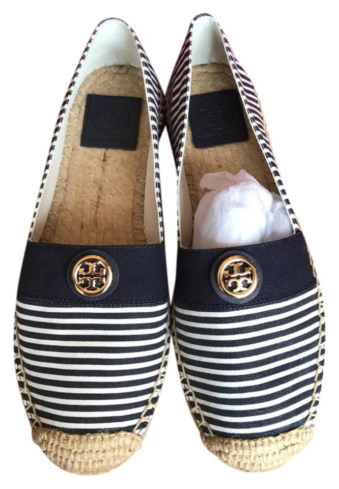 Tory Navy Burch Navy Tory and White Espadrilles Sandals b5cb10