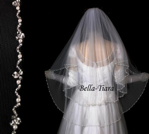 Bella Tiara 2 Tier Beaded Edge Wedding Veil - Free Shipping