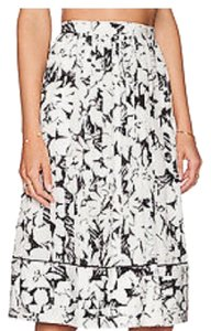 Elizabeth and James Floral Casual Spring Party A-line Skirt White and Black