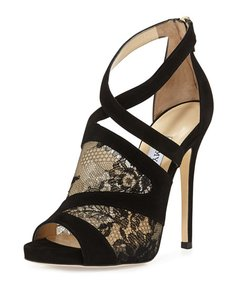 Jimmy Choo Jc.k0802.04 Peep Toe Lattice Cage blk Sandals