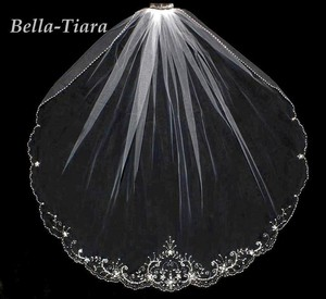 Bella Tiara Gorgeous Beaded Crystal Wedding Veil - Free Shipping