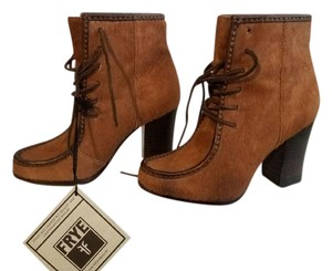 Frye Leather Chunky Heel Moc Brown Boots