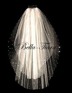 Bella Tiara Elegant Scattered Crystal Wedding Veil - Free Shipping