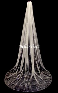 Bella Tiara Elegant Cathedral Scattered Crystal Wedding Veil - Free Shipping