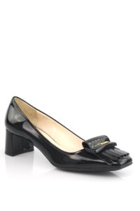 Prada Leather Stacked Heel Black Pumps