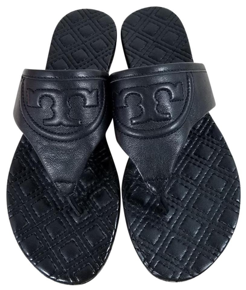 Tory Fleming Burch Black Fleming Tory Quilted Thong Flat Sandals 9c594e
