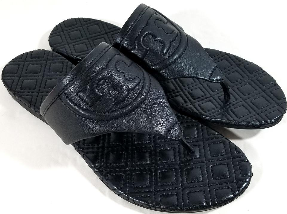 75d705c2897 Tory Burch Black Fleming Quilted Thong Flat Sandals Size US 5.5 Regular (M