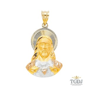 Top Gold & Diamond Jewelry DC Jesus Stamp Religious Pendant, 14K Tri Color Religious Pendant