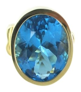 14K SOLID YELLOW GOLD BLUE TOPAZ 12.1 GRAMS SZ 7 COCKTAIL RING FINE JEWELRY