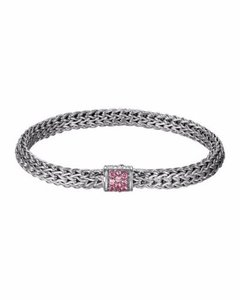 John Hardy Classic Chain Bracelet Pink Spinel 5MM Sterling Silver w Dustbag