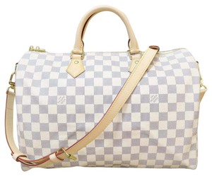 Louis Vuitton Lv Brand New Damier Azur Speedy Bandouliere Satchel in white