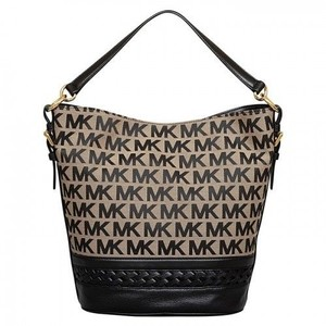 Michael Kors Gladstone Bucket Monogram Tote in Beige/Black