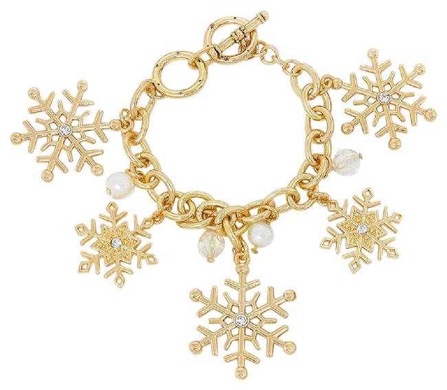 Yellow Gold 14k Plated Snowflake Charm Toggle W/Pearls & Crystals Bracelet Yellow Gold 14k Plated Snowflake Charm Toggle W/Pearls & Crystals Bracelet Image 1