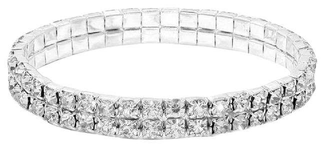 Silver Plated Double Row Stretch Tennis W/Swarovski Crystals Bracelet Silver Plated Double Row Stretch Tennis W/Swarovski Crystals Bracelet Image 1