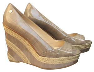 Calvin Klein Light Taupe Patent Wedges