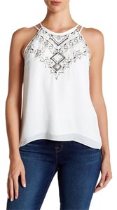 Parker Embellished Going Out Studded Embroidered Top White