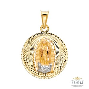 Top Gold & Diamond Jewelry DC Guadlupe Stamp Religious Pendant, 14K Tri Color