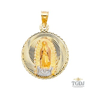 Top Gold & Diamond Jewelry DC Guadlupe Stamp Religious Pendant, 14K Tri Color Religious Pendant