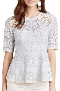 Anthropologie Top blue ivory white