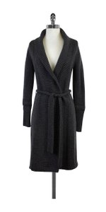 Elie Tahari Long Grey Knitted Cardigan