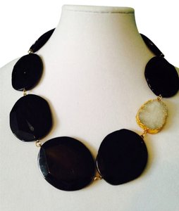 Panacea Cache Oversized Black Agate/Drusy Gemstone Station Necklace