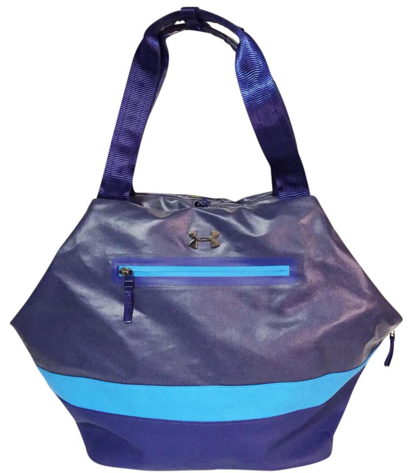 Under Armour Ua Women s Perfect Tote Striped Yoga Gym Duffle Blue ... 83601051aef27