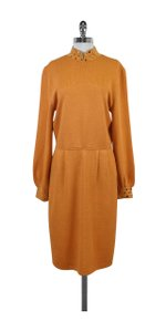 St. John Orange Gold Embellished Long Sleeve Dress