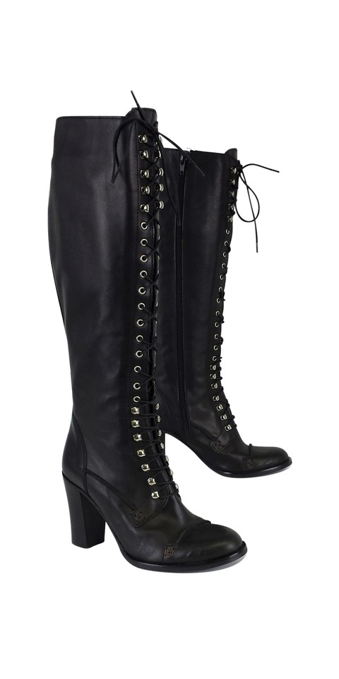 0bee750713f Charles David Black Leather Regiment Lace Up Boots Booties Size US 8 ...