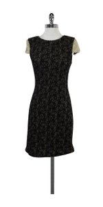Badgley Mischka short dress Black Grey Textured Short Sleeve on Tradesy