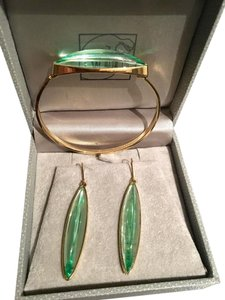Lalique Bracelet & Earrings Gold & Green Crystal Set