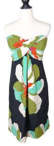 Nicole Miller Strapless Silk Printed Dress