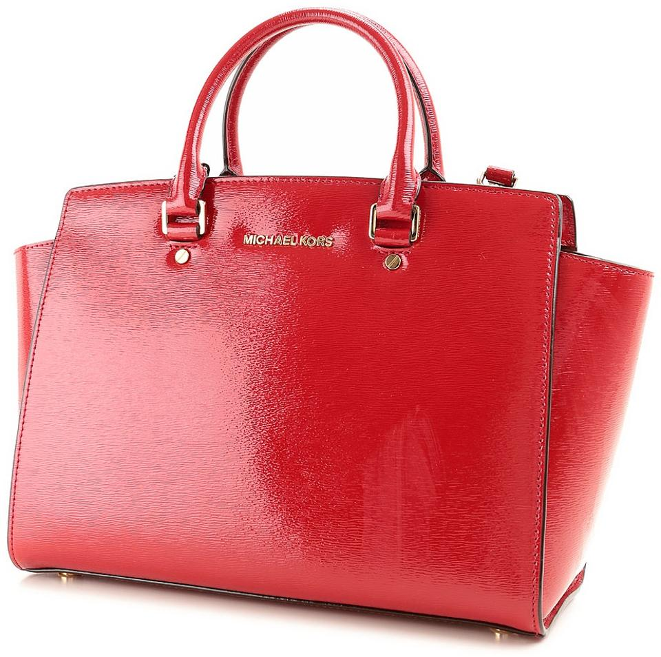 eca6470311463e Michael Kors Selma Large Handbag Dark Red Patent Leather Satchel ...