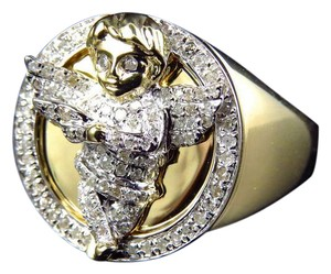 Other Genuine Diamond 3D Angel Fashion Pinky Ring In Yellow Gold Finish