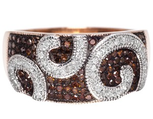 Other 10k Rose Gold Ladies Red White Diamond Designer 10mm Fashion Band Ring