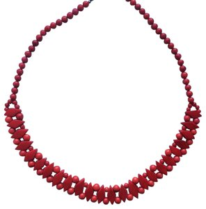 Handmade geometric necklace wooden beaded necklace red