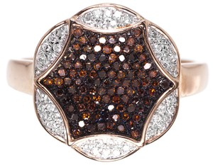 Other 10k Rose Gold XL Ladies Red White Diamond Designer Fashion Ring