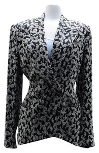 Richard Tyler Couture Paisley Jacket Size 10 And Multi Black White Blazer