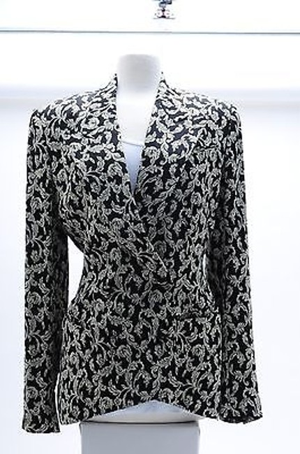 Richard Tyler Couture Paisley Jacket Size 10 Multicolor And Multi Black White Blazer